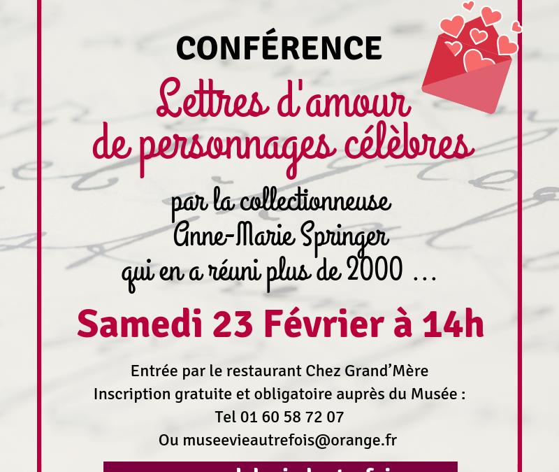 Conférence « Lettres d'amour de personnages célèbres » par Anne-Marie Springer.